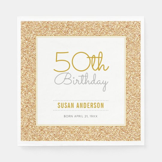 50th Birthday Faux Gold Glitter Paper Napkin