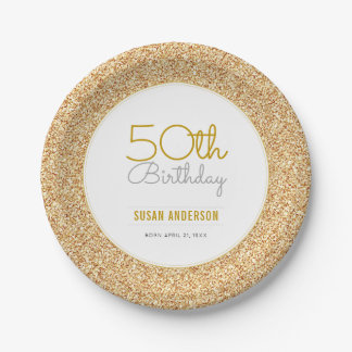 50th Birthday Faux Gold Glitter Paper Plate