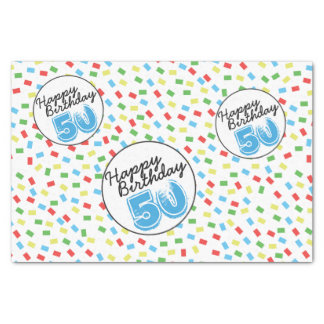 50th Birthday Festive Colorful Gift Wrap Supplies Tissue Paper