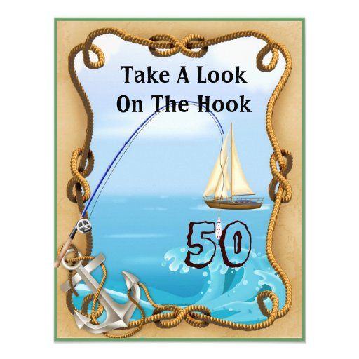 50th Birthday Fishing Invitations for MEN