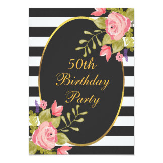 50th Birthday Floral Black White Stripes Gold Foil Card