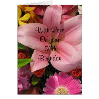50th Birthday Floral Bouquet  Card