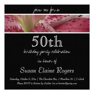 50th Birthday Floral Lily Invitation