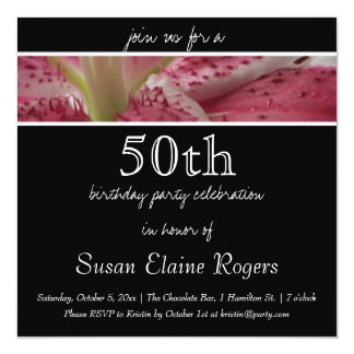 """50th Birthday Floral Lily Invitation 5.25"""" Square Invitation Card"""