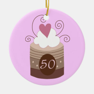 50th Birthday Gift Ideas For Her Round Ceramic Ornament