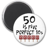 50th birthday gifts, 50 is 5 perfect 10s! refrigerator magnet