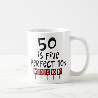 50th birthday gifts, 50 is 5 perfect 10s! mugs