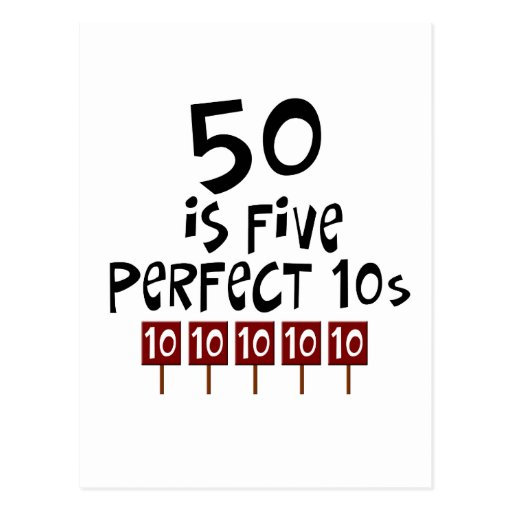 50th birthday gifts, 50 is 5 perfect 10s! post cards
