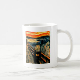 50th Birthday Gifts, The Scream 50! Basic White Mug