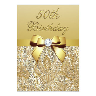 "50th Birthday Gold Faux Sequins and Bow 5"" X 7"" Invitation Card"