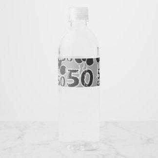 50th Birthday Grey Black Water Bottle Label