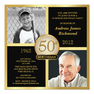 50th Birthday Invitations Then & Now 2 Photos