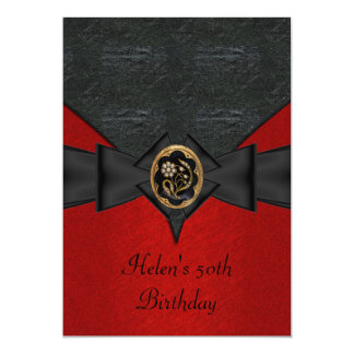 50th Birthday Leather Black Red Bow gold jewel Card