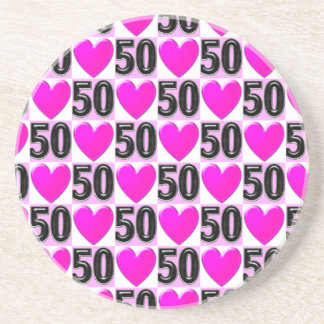 50TH BIRTHDAY LOVE HEARTS DRINK COASTERS