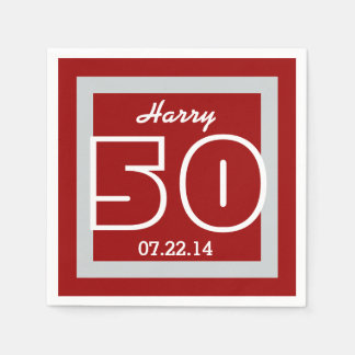 50th Birthday Modern Geometric V07 MAROON Paper Napkin