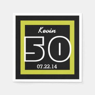 50th Birthday Modern Geometric V13 LIME and BLACK Disposable Napkins