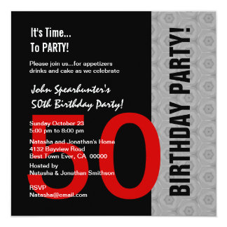 "50th Birthday Modern Red Silver Black Funny D845 5.25"" Square Invitation Card"