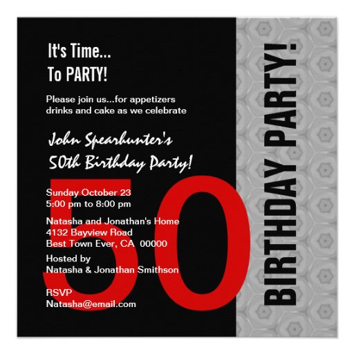 50th Birthday Modern Red Silver Black Funny D845 Invitation