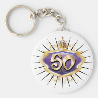 50th birthday or anniversary basic round button keychain