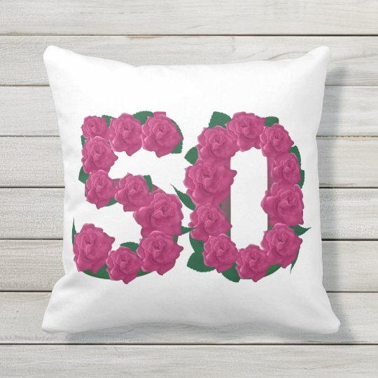 50th birthday Outdoor Throw Pillow