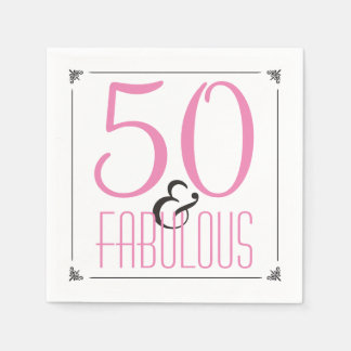 50th Birthday Party | 50 & Fabulous Pink Diva Disposable Napkins