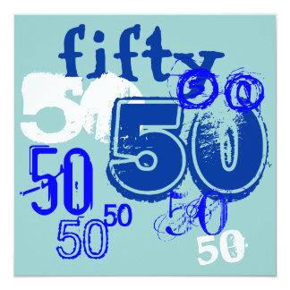 "50th Birthday Party 5.25"" Square Invitation Card"