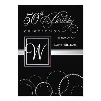 "50th Birthday Party Adult - Silver Monogram 5"" X 7"" Invitation Card"