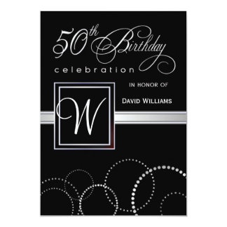 50th Birthday Party Adult - Silver Monogram Card