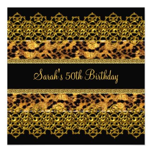 50th Birthday Party Animal Wild Black Gold Lace Invites