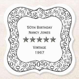 50th Birthday Party Black and White Theme Paper Coaster