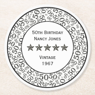 50th Birthday Party Black and White Theme Round Paper Coaster