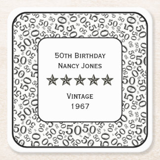 50th Birthday Party Black and White Theme Square Paper Coaster