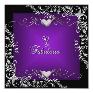 "50th Birthday Party Black Bright Deep Purple 5.25"" Square Invitation Card"