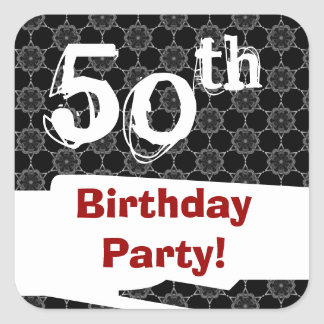 50th Birthday Party Black White Pattern and Red Square Sticker