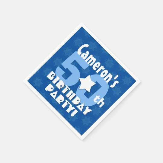 50th Birthday Party Blue Stars Custom Name B25Z Disposable Napkins