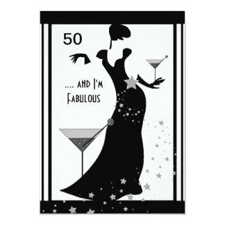 50th Birthday Party Diva Art deco Black White Card
