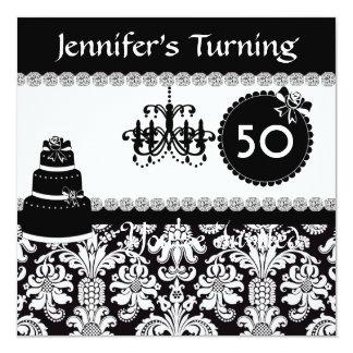 50th Birthday Party Elegant BLING DAMASKInvitation Card