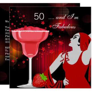 50th Birthday Party Fabulous 50 Diva Red Black Card