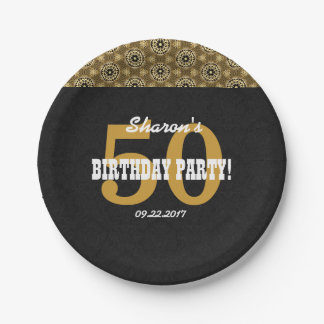 50th BIRTHDAY PARTY For Her Black and Gold H04BZ Paper Plate