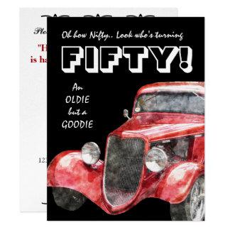 "50th Birthday Party For Vintage Auto Mechanics 4.25"" X 5.5"" Invitation Card"