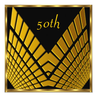 "50th birthday Party Gold Black gold 1 5.25"" Square Invitation Card"