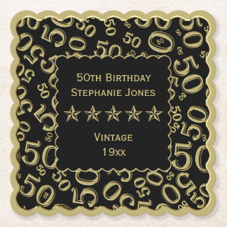 50th Birthday Party Gold/Black Pattern Theme Paper Coaster