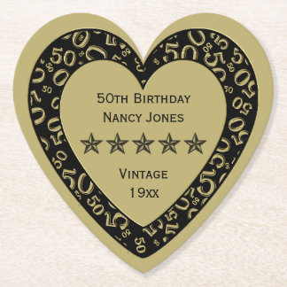 50th Birthday Party Gold/Black Theme Paper Coaster