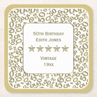 50th Birthday Party Gold/White Pattern Square Paper Coaster