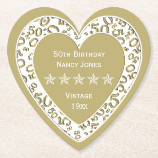 50th Birthday Party Gold/White Theme Paper Coaster