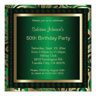 50th Birthday Party | Green Metallic & Gold Card