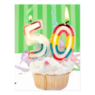 50th birthday party greeting postcard