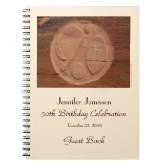 50th Birthday Party Guest Book, Angel in the Rocks Notebook