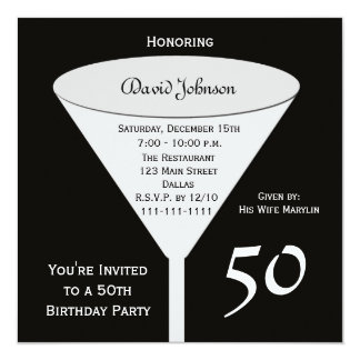 50th Birthday Party Invitation 50 in Black
