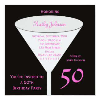50th Birthday Party Invitation 50 in Pink